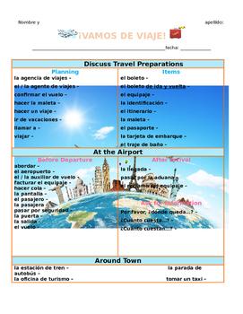 Vamos de viaje Vocabulary List (Blank) (Avancemos 2 U1L1)