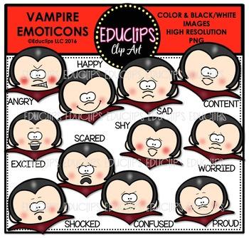 Vampire Emoticons Clip Art Bundle
