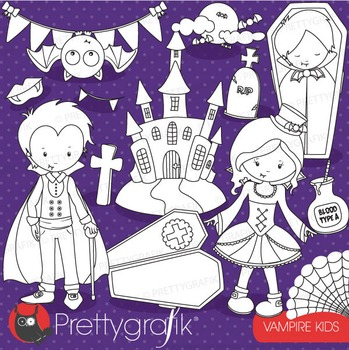 Vampire kids stamps commercial use, vector graphics, image