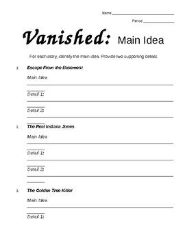 Vanished - Comprehension Strategy Reading Packet