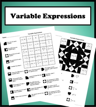 Variable Expressions Color Worksheet