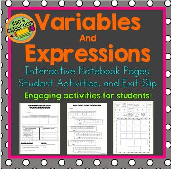 Variables and Expressions Interactive Notebook  and Studen