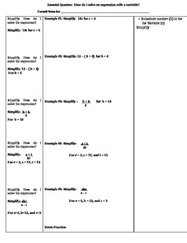 Variables & Expressions Cornell Notes (7.NS.3; Mathematica