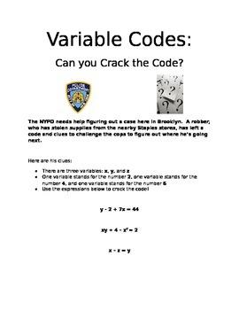 Variables Project/Basic Algebraic Equations PBL