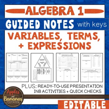 Variables, Terms & Expressions - Interactive Notebook Activities