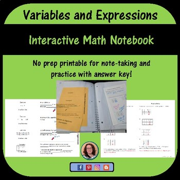 Variables and Algebraic Expressions foldable for Interacti