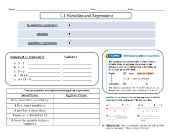 Variables and Expressions Note-Taking Sheet