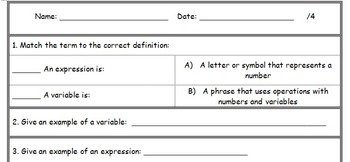 Variables and Expressions Quiz