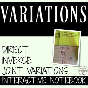Variations Interactive Notebook includes Direct Inverse an