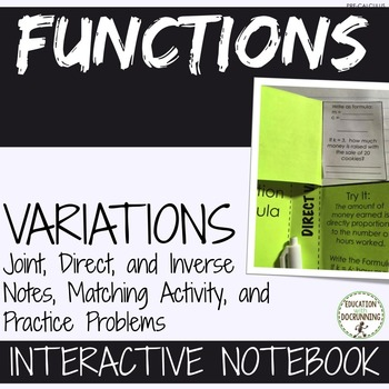 Variations for PreCalculus Interactive Notebook Notes and