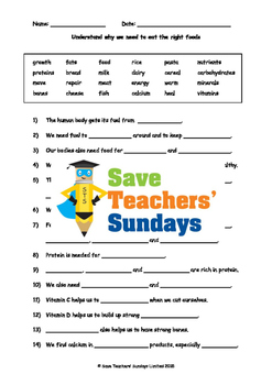 Varied diet / Balanced diet Lesson plan and Worksheets