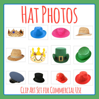 Various Hat Photos / Photographs Clip Art Set for Commercial Use