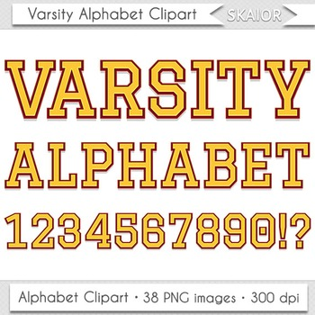 Varsity Alphabet Clipart Yellow Letters Numbers University