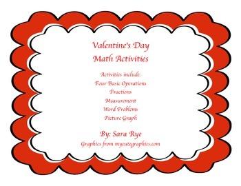 Math Bundle Valentines Day Basic Operations, Fractions, Pi