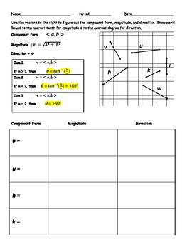 Printables Vector Basics Worksheet Answers vector worksheets davezan basics by elias robles iii teachers pay teachers
