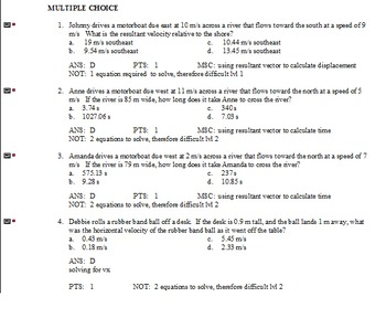 Vectors and Projectile motion Physics Examview questions.