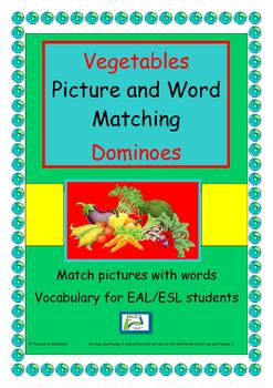 Game  EAL / ESL/ EFL/ ELD  - Vegetables Dominoes - match p