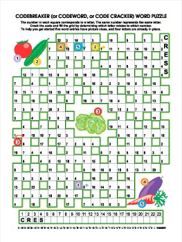Vegetables Codebreaker Word Puzzle, Illustrated, Commercia