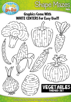 Vegetables Shaped Mazes Clipart Set — Includes 15 Graphics!