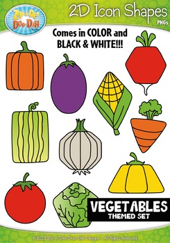 Vegetables Themed 2D Icon Shapes Clipart Set — Includes 20