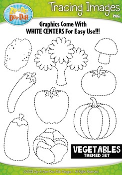 Vegetables Tracing Image Clipart Set — Includes 15 Graphics!
