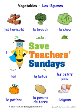 Vegetables in French Worksheets, Games, Activities and Fla