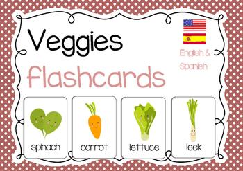 FREE Veggies flashcards (English & Spanish)