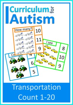 Vehicles Count 1-20 Visual Flash Cards, Autism, Special Ed