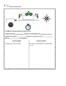 Velocity Worksheet and Interactive Notebook Page