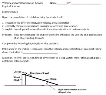 Velocity and Acceleration Lab Activity