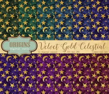 Velvet Gold Celestial Digital paper fantasy backgrounds mo