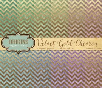 Velvet Gold Chevron Digital paper textures scrapbooking ba