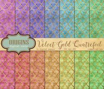 Velvet Gold Quatrefoil Digital Paper