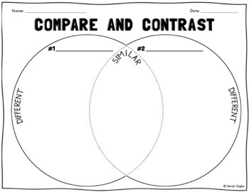 Venn Diagram Compare & Contrast Worksheet