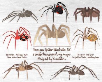 Venomous Spider Clipart - Arachnid Illustrations for Hallo