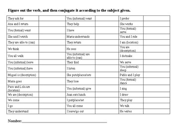 Verb Conjugation Drill - English Version