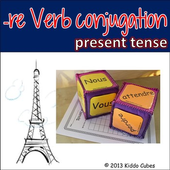 """Verb Conjugation -RE Verbs (French) """"Learning cube Inserts"""""""