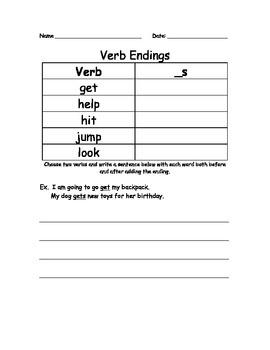 Verb Endings(_s) Worksheet