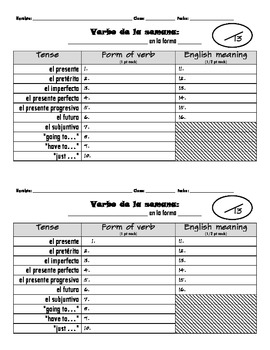 Verb Of the Week (Verbo de la semana) quiz form
