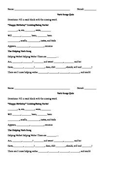 Verb Songs Quiz