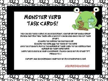 Verb Task Cards (monster themed)