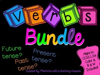 Verb Tense Bundle Literacy Centers L.1.1