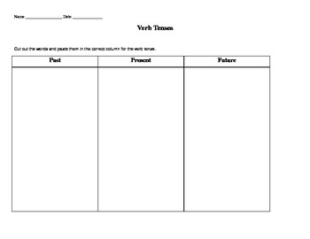 Verb Tense Cut and Paste Worksheet