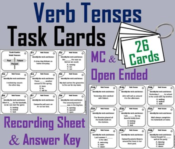 Verb Tenses Task Cards/ Verb Tenses Activity for 3rd and 4