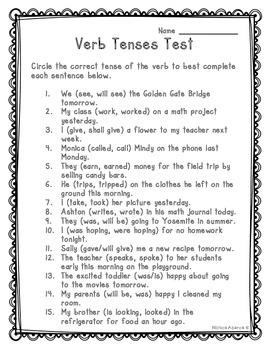 Verb Tenses Test (L.4.1b)