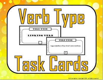 Verb Type Task Cards (Action, Linking, Helping)