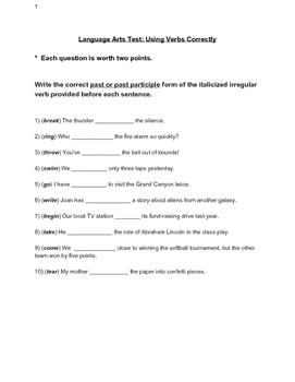 Verb Usage Test for Middle School Grammar