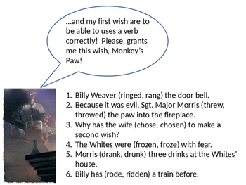"""Verb Usage in """"The Landlady"""" and """"The Monkey's Paw"""" and Pr"""