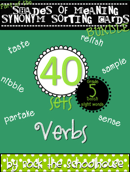 Dolch Sight Word Verb Vocabulary {Shades of Meaning Synony