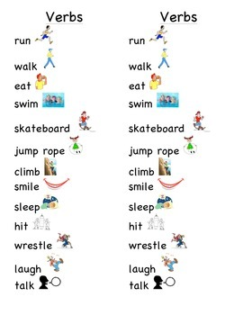 Verb Word Picture Sentence Helpers